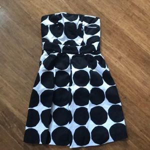 Strapless polka dot dress